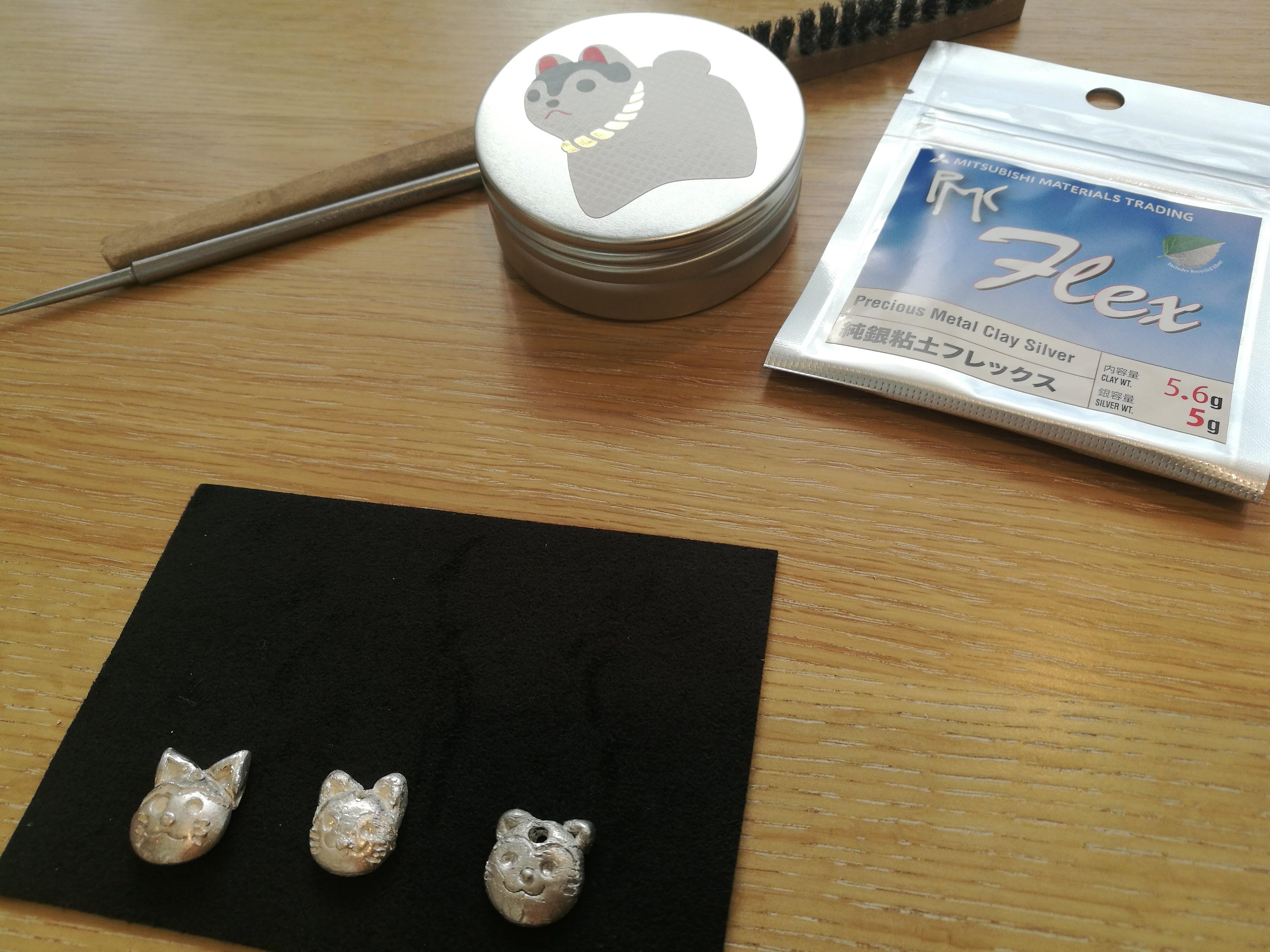 5/18(金)、6/10(日)シルバーアクセサリー純銀粘土PMCでつくる「狛犬根付チャーム」