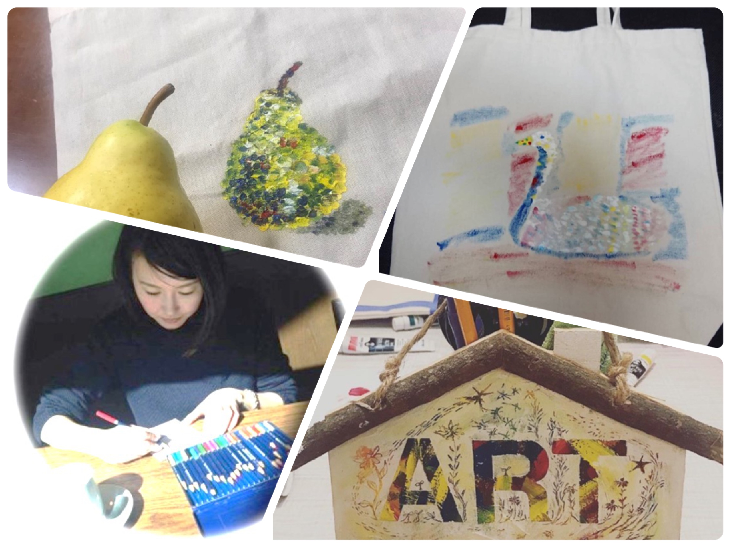 【4月24日】絵が苦手でも上手にできる!親子で楽しむ春♪オリジナルトートバック点描画講座